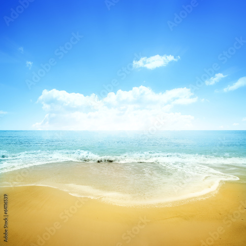 Golden Beach And Blue Sky
