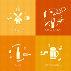 beer flat set of icons design background