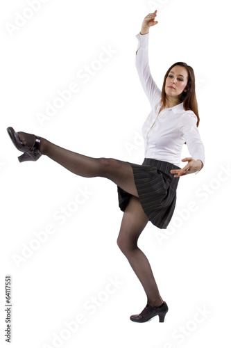 female student or businesswoman balancing on one foot