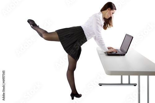 young student or businesswoman dancing while working
