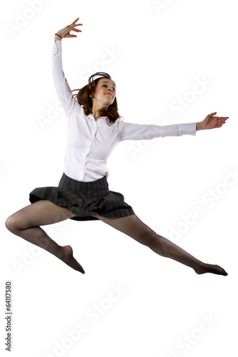 student or businesswoman leaping in a ballet form