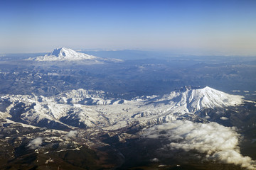 An Aerial view of Mount St. Helens and Mt. Adams, Washington