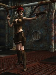Steampunk warrior girl in dystopian factory