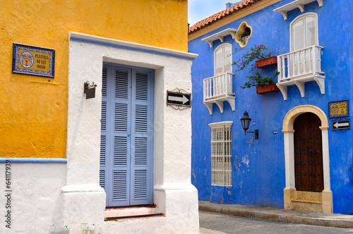 Typical Colonial houses, Old City of Cartagena - 64117939