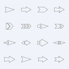 Set hollow vector arrows on a light background.