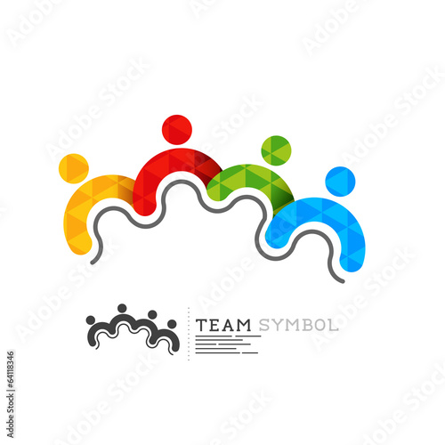 Connected team leadership symbol