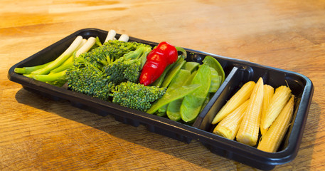 tray of fresh vegetables