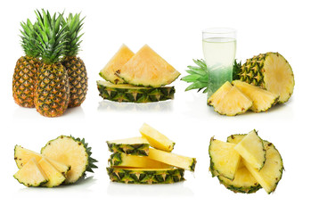 set of pineapple on white background