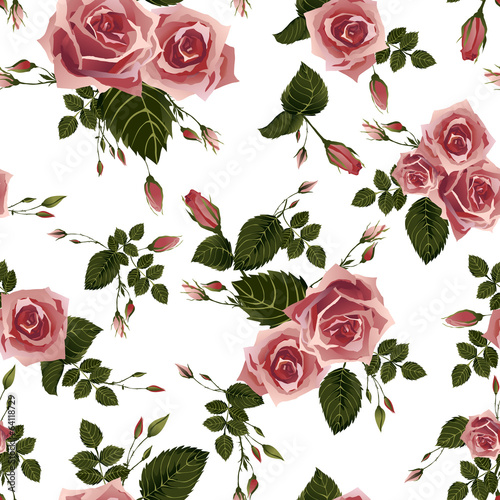 Seamless floral pattern with of pink roses