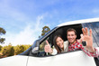 canvas print picture - New car - happy couple showing car keys