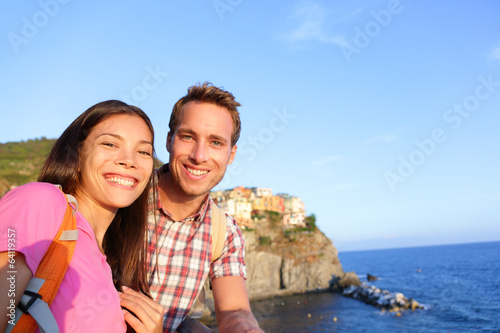Selfie - couple in love in Cinque Terre, Italy