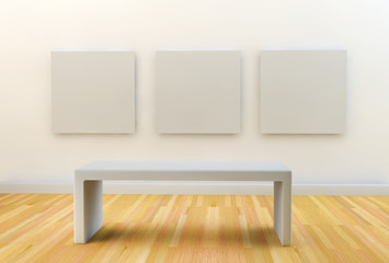 art gallery with empty seat and white canvases