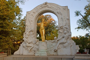 Golden statue of Johann Strauss, Vienna, Austria