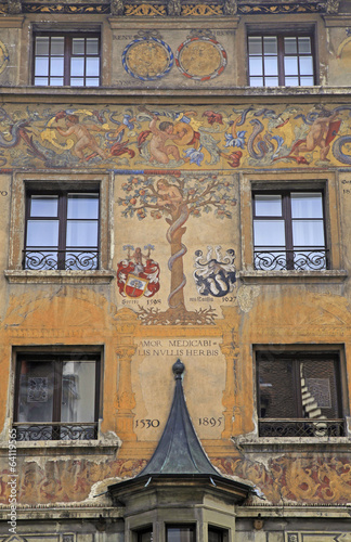 Old beautiful fresco on medieval building in Lucern, Switzerland