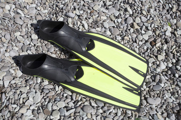 Flippers for diving on grey pebble of the beach.