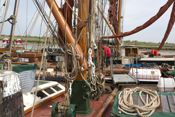 close up of different ships rigging and ropes