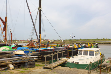 selection of thames sailing barges in maldon, essex