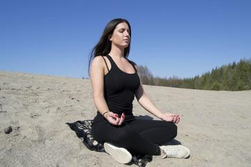 Woman - yoga - beach - meditation - healthy lifestyle & wellness