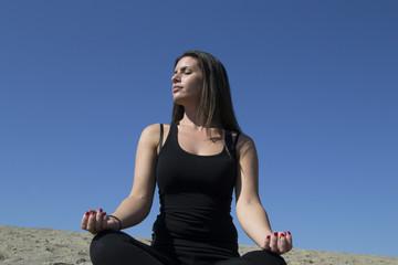 Woman - sand - beach - meditation - healthy lifestyle