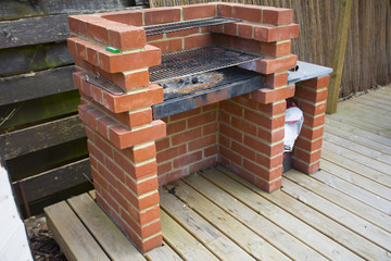 home made built brick barbeque