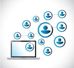 laptop and social media network illustration