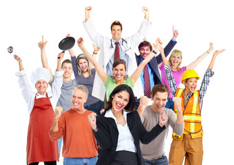 Group of happy workers people.