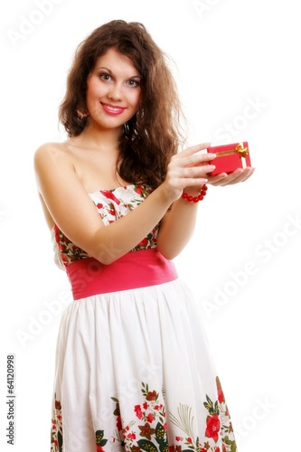 Girl opening small red gift box isolated