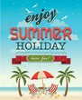 Summer Poster In Retro Style. Vector Illustration