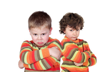 Two children with the same jersey angry