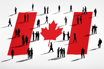 Business People with Canadian Flag