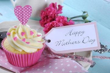Happy Mothers Day pink heart cupcake close up