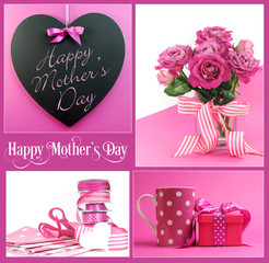 Happy Mothers Day collage of pink theme gifts