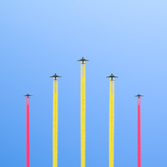 Flight of the five planes in the sky.