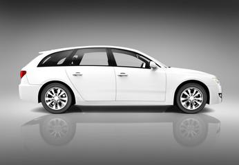 White 3D Luxury SUV Car