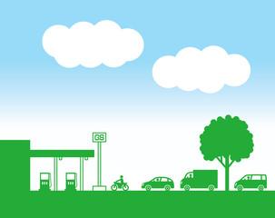 サービスステーションと車
