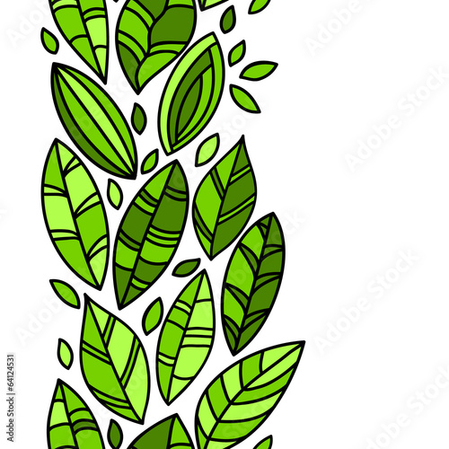 Green fresh doodle leaves border on white seamless pattern