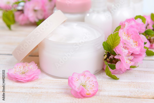 Beautiful spa setting on table close-up