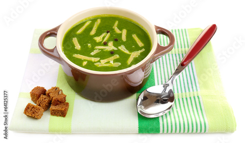 Tasty soup in saucepans, isolated on white
