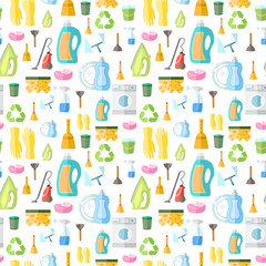 Cleaning icon seamless pattern