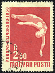 stamp printed in Hungary shows High dive