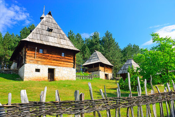 Preserved traditional Balkan medieval village at Sirogojno