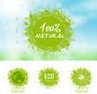 Ecology, green, bio, icons, 100% Natural