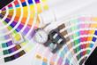 Lens , pantone and micrometer. Design and prepress concept - 64127582