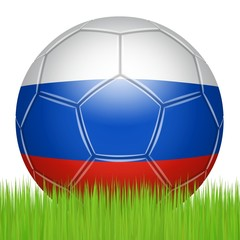 Russian soccer ball on the lawn