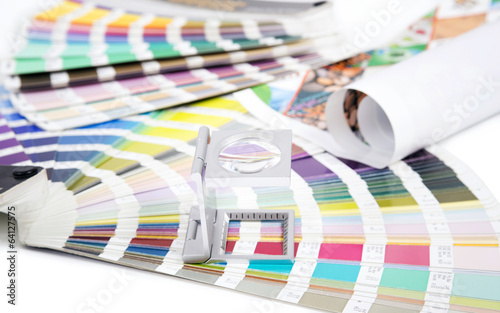 Lens  and pantone. Design and prepress concept - 64127575