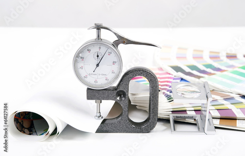 Lens  and micrometer. Design and prepress concept - 64127584