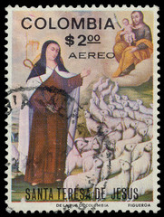 Stamp printed in the Colombia shows St. Theresa