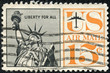 stamp printed in the United States, shows Statue of Liberty