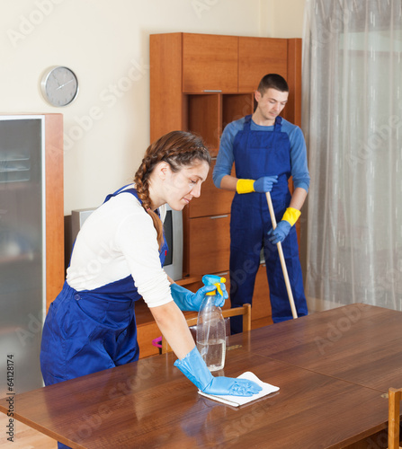 Cleaning team in uniform