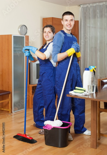 Smiling cleaners team working
